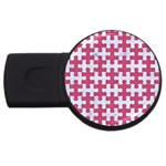 PUZZLE1 WHITE MARBLE & PINK DENIM USB Flash Drive Round (4 GB) Front