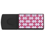 PUZZLE1 WHITE MARBLE & PINK DENIM Rectangular USB Flash Drive Front
