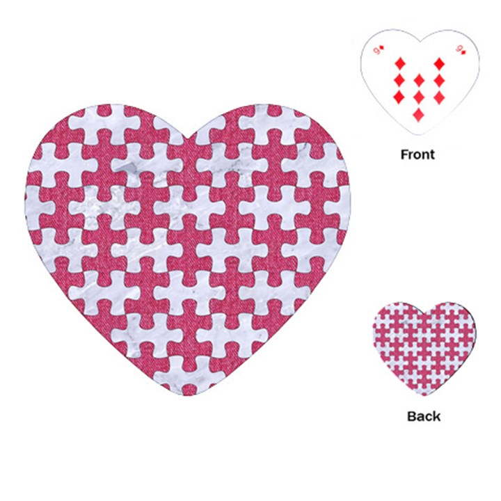 PUZZLE1 WHITE MARBLE & PINK DENIM Playing Cards (Heart)