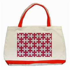 Puzzle1 White Marble & Pink Denim Classic Tote Bag (red)