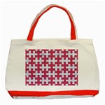 PUZZLE1 WHITE MARBLE & PINK DENIM Classic Tote Bag (Red) Front