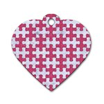 PUZZLE1 WHITE MARBLE & PINK DENIM Dog Tag Heart (One Side) Front