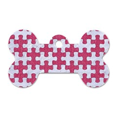 Puzzle1 White Marble & Pink Denim Dog Tag Bone (one Side)
