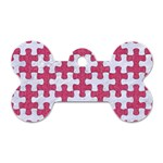 PUZZLE1 WHITE MARBLE & PINK DENIM Dog Tag Bone (Two Sides) Front