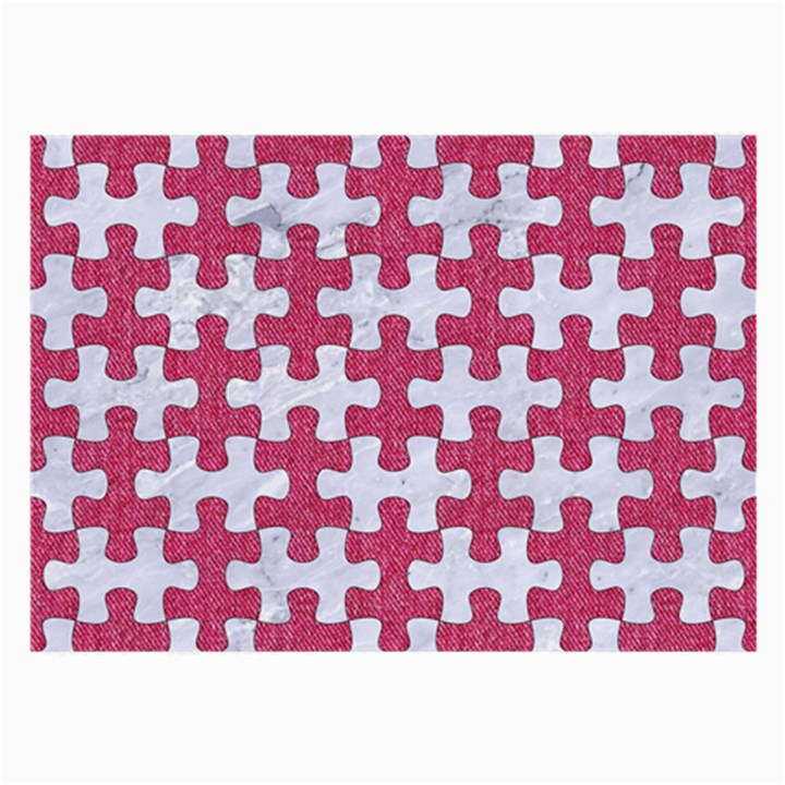 PUZZLE1 WHITE MARBLE & PINK DENIM Large Glasses Cloth (2-Side)