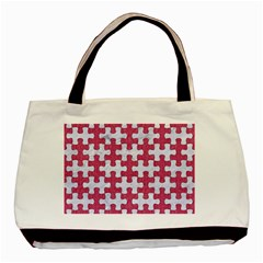 Puzzle1 White Marble & Pink Denim Basic Tote Bag (two Sides)