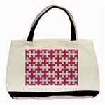 PUZZLE1 WHITE MARBLE & PINK DENIM Basic Tote Bag (Two Sides) Front