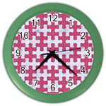PUZZLE1 WHITE MARBLE & PINK DENIM Color Wall Clocks Front