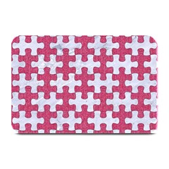 Puzzle1 White Marble & Pink Denim Plate Mats