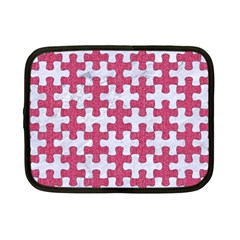Puzzle1 White Marble & Pink Denim Netbook Case (small)