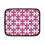 PUZZLE1 WHITE MARBLE & PINK DENIM Netbook Case (Small)  Front