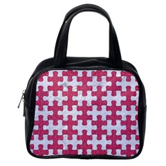 Puzzle1 White Marble & Pink Denim Classic Handbags (one Side)