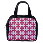 PUZZLE1 WHITE MARBLE & PINK DENIM Classic Handbags (One Side) Front