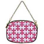 PUZZLE1 WHITE MARBLE & PINK DENIM Chain Purses (One Side)  Front