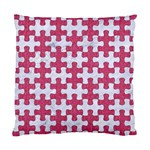 PUZZLE1 WHITE MARBLE & PINK DENIM Standard Cushion Case (One Side) Front
