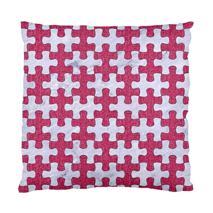 PUZZLE1 WHITE MARBLE & PINK DENIM Standard Cushion Case (One Side)