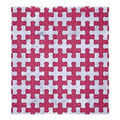 Puzzle1 White Marble & Pink Denim Shower Curtain 66  X 72  (large)