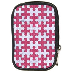 Puzzle1 White Marble & Pink Denim Compact Camera Cases