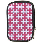 PUZZLE1 WHITE MARBLE & PINK DENIM Compact Camera Cases Front