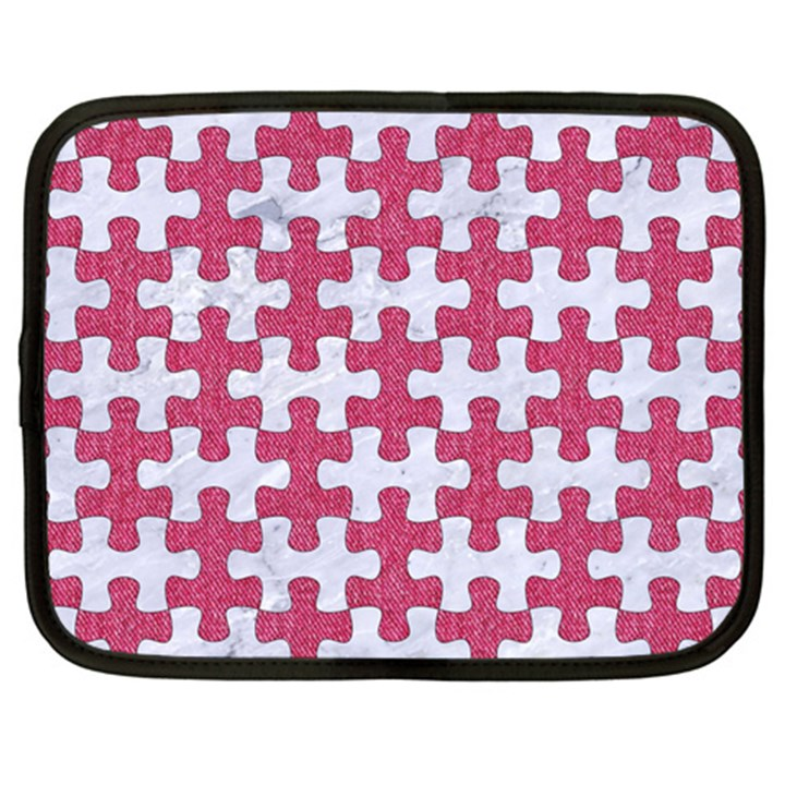 PUZZLE1 WHITE MARBLE & PINK DENIM Netbook Case (XXL)