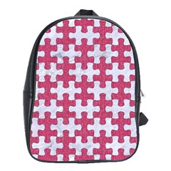 Puzzle1 White Marble & Pink Denim School Bag (large)