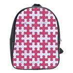 PUZZLE1 WHITE MARBLE & PINK DENIM School Bag (Large) Front