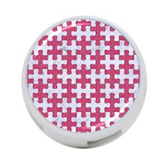 Puzzle1 White Marble & Pink Denim 4 Port Usb Hub (one Side) by trendistuff