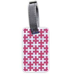Puzzle1 White Marble & Pink Denim Luggage Tags (one Side)