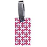 PUZZLE1 WHITE MARBLE & PINK DENIM Luggage Tags (One Side)  Front