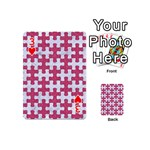 PUZZLE1 WHITE MARBLE & PINK DENIM Playing Cards 54 (Mini)  Front - Heart3