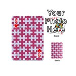 PUZZLE1 WHITE MARBLE & PINK DENIM Playing Cards 54 (Mini)  Front - Heart9