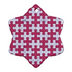PUZZLE1 WHITE MARBLE & PINK DENIM Snowflake Ornament (Two Sides) Front