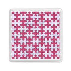 Puzzle1 White Marble & Pink Denim Memory Card Reader (square)  by trendistuff