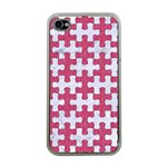 PUZZLE1 WHITE MARBLE & PINK DENIM Apple iPhone 4 Case (Clear) Front