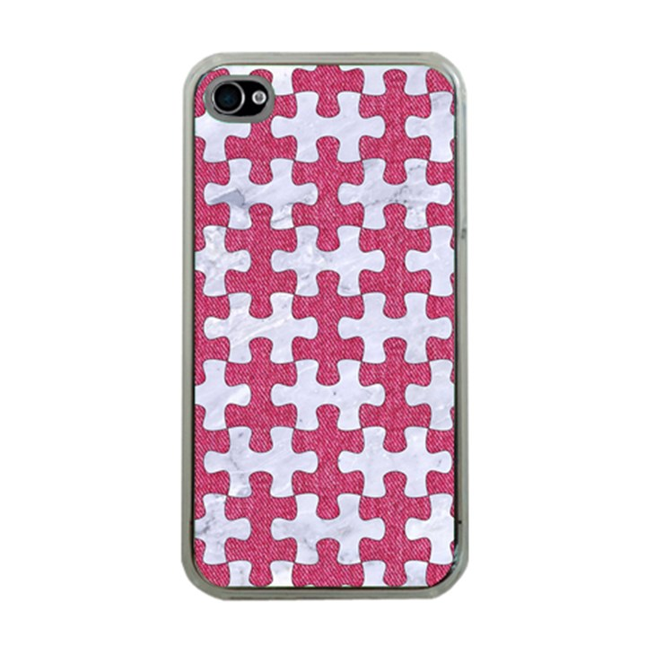 PUZZLE1 WHITE MARBLE & PINK DENIM Apple iPhone 4 Case (Clear)