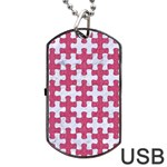 PUZZLE1 WHITE MARBLE & PINK DENIM Dog Tag USB Flash (One Side) Front