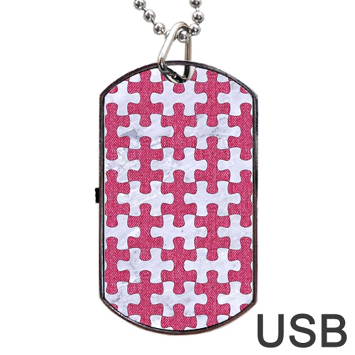 PUZZLE1 WHITE MARBLE & PINK DENIM Dog Tag USB Flash (Two Sides)