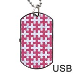PUZZLE1 WHITE MARBLE & PINK DENIM Dog Tag USB Flash (Two Sides) Back