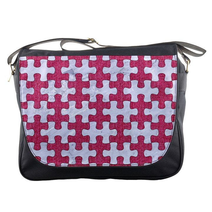 PUZZLE1 WHITE MARBLE & PINK DENIM Messenger Bags