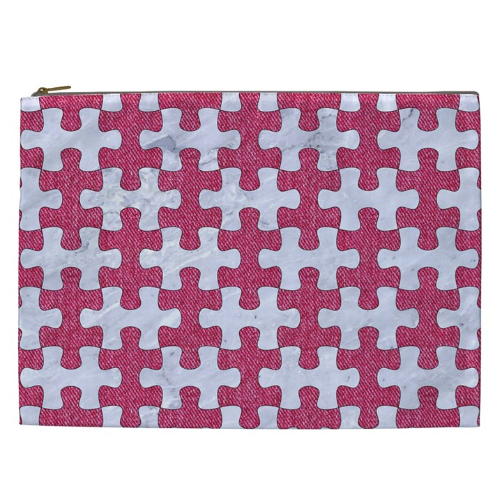 PUZZLE1 WHITE MARBLE & PINK DENIM Cosmetic Bag (XXL)
