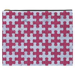 Puzzle1 White Marble & Pink Denim Cosmetic Bag (xxxl)