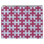 PUZZLE1 WHITE MARBLE & PINK DENIM Cosmetic Bag (XXXL)  Front