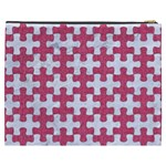 PUZZLE1 WHITE MARBLE & PINK DENIM Cosmetic Bag (XXXL)  Back