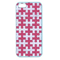 Puzzle1 White Marble & Pink Denim Apple Seamless Iphone 5 Case (color) by trendistuff