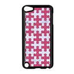 PUZZLE1 WHITE MARBLE & PINK DENIM Apple iPod Touch 5 Case (Black) Front