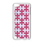 PUZZLE1 WHITE MARBLE & PINK DENIM Apple iPod Touch 5 Case (White) Front