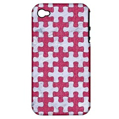 Puzzle1 White Marble & Pink Denim Apple Iphone 4/4s Hardshell Case (pc+silicone)