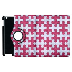 Puzzle1 White Marble & Pink Denim Apple Ipad 2 Flip 360 Case by trendistuff