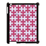 PUZZLE1 WHITE MARBLE & PINK DENIM Apple iPad 3/4 Case (Black) Front