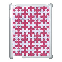 Puzzle1 White Marble & Pink Denim Apple Ipad 3/4 Case (white)
